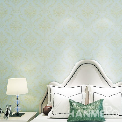 HANMERO Light Blue And Gold European Floral 0.53m Width Vinyl Wallpaper
