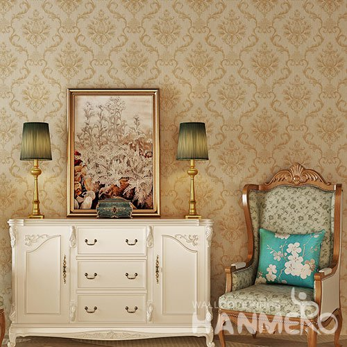 HANMERO Champagne Gold Flowers Embossed Cheap PVC Wallpaper For Home