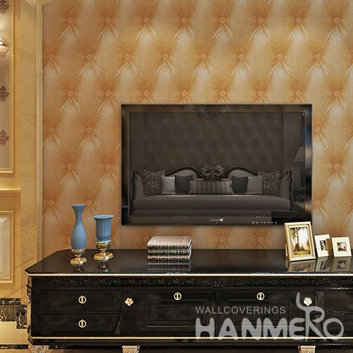 HANMERO Easy Clean PVC 3D Visual Brown Sofa Pattern Embossed Vinyl Wallpaper