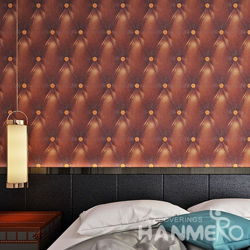 HANMERO Modern 3D Leather Sofa Embossed PVC Wallpaper For TV Background