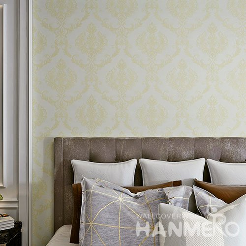 HANMERO High Quality PVC European Embossed Bedroom Gold Color Wallpaper