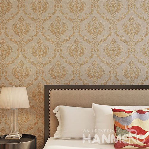 HANMERO Gold Brown Florals Waterproof Easy Washable Vinyl Embossed Wallpaper