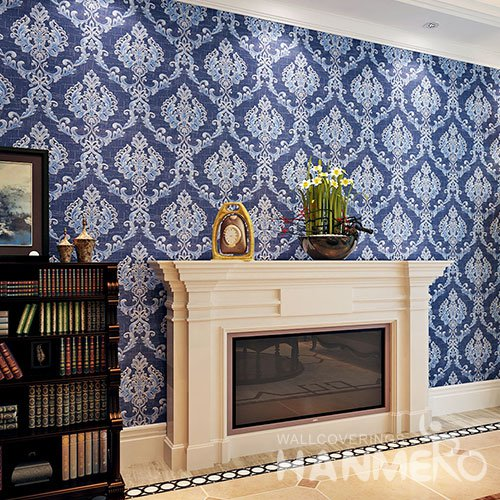 HANMERO Royal Blue Embossed European Style PVC Wallpaper With Flowers