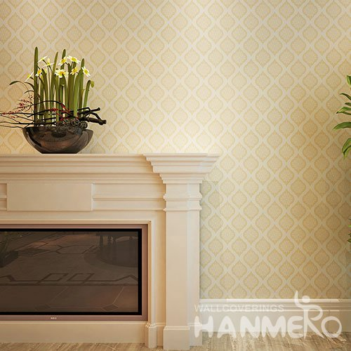 HANMERO Gold Repeated Flowers Embossed Surface SGS PVC Wallpaper