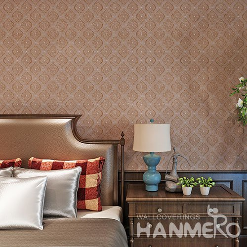 HANMERO Deep Brown PVC European Glitter Embossed Wallpaper With SGS Test