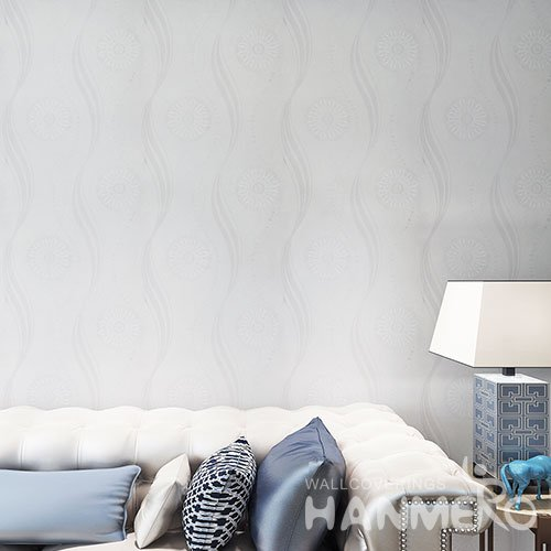 HANMERO PVC White And Grey Geometric Flower Embossed Modern Wallpaper