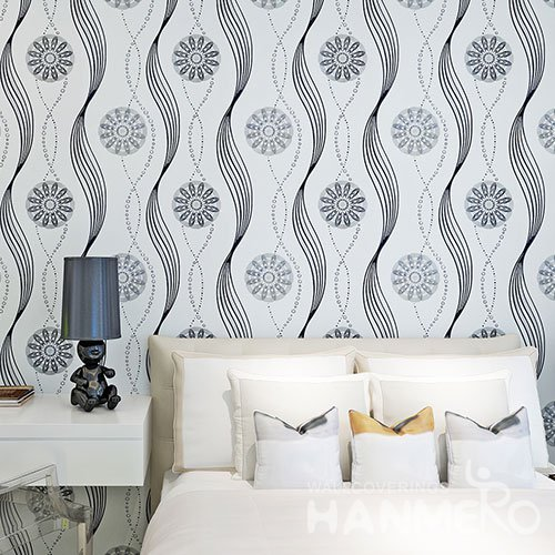 HANMERO Modern Geometric Flower Black And White PVC Removable Wallpaper