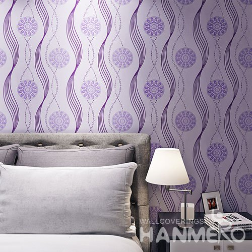 HANMERO Purple Modern Geometric Flower PVC Embossed Wallpaper For Decoration