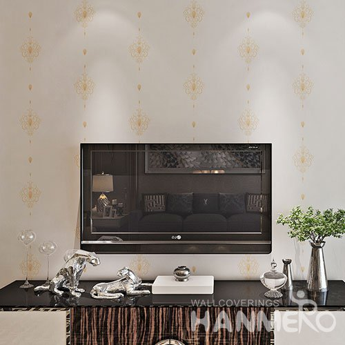HANMERO White Embossed European Simple PVC Floral Living Room Wallpaper