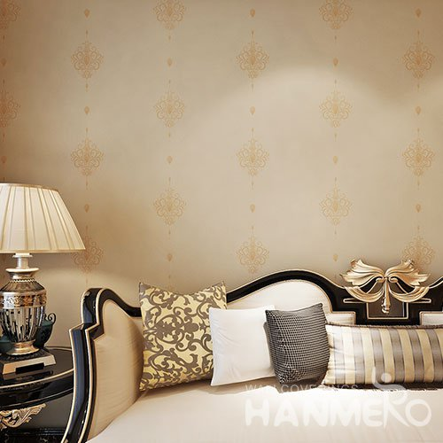 HANMERO Simple European Floral Embossed Gold PVC Wallpaper For Wall