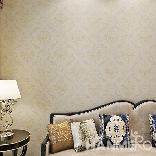 HANMERO Champagne Gold European Flowers PVC Bedroom Embossed Wallpaper