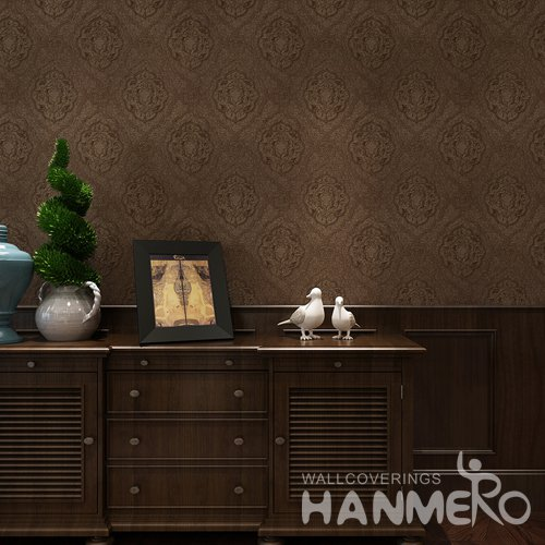 HANMERO Deep Brown Embossed Floral Vinyl Coated Eco friendly Wallpaper