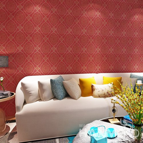HANMERO Chinese Red Bright Floral Roll Eruopean PVC Wallpaper