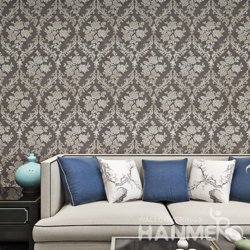 HANMERO Coffee Brown European Embossed Vinyl Wallpaper For Bedding Room