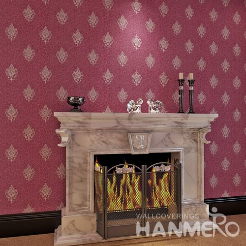 HANMERO Wine Red European Decorative Flowers Embossed Vinyl Wallpaper