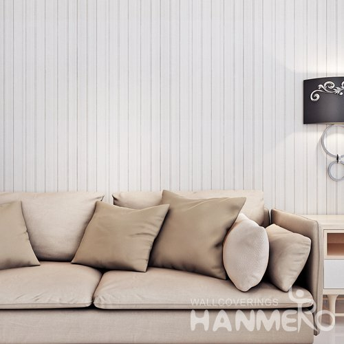 HANMERO White Modern Simple Removable PVC Embossed Stripped Wallpaper