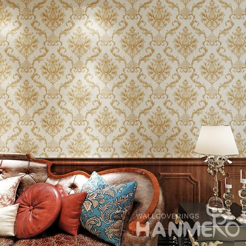HANMERO Luxury European Large Floral PVC Embossed Golden Wallpaper