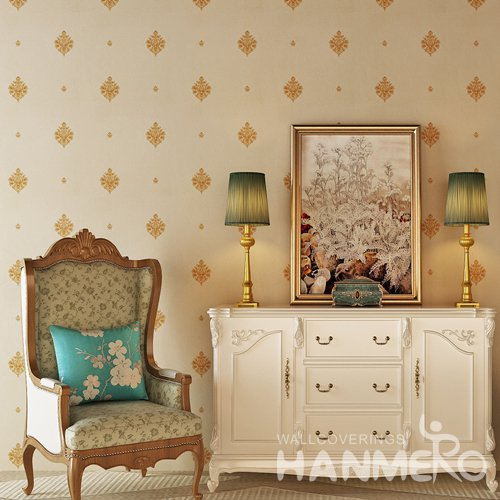 HANMERO PVC Embossed European Floral Vinyl Bedroom Wallpaper