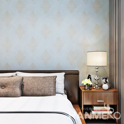 HANMERO Light Blue European Environmental Vinyl Floral Embossed Wallpape For House