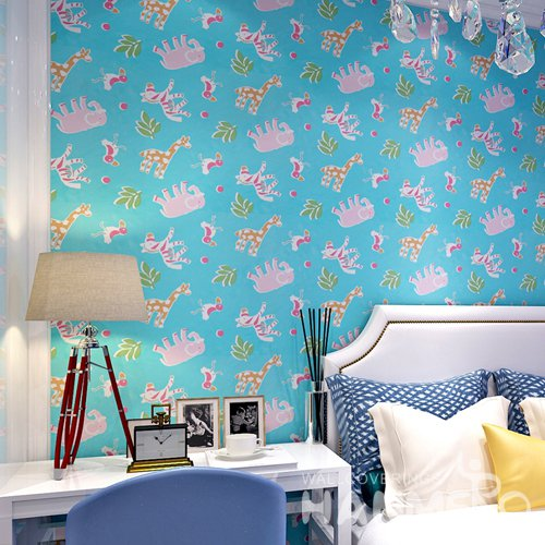 HANMERO Modern Cartoon Blue Peel and Stick Wall paper Removable Stickers
