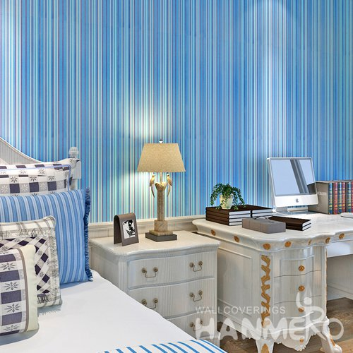HANMERO Modern Stripe Blue Peel and Stick Wall paper Removable Stickers