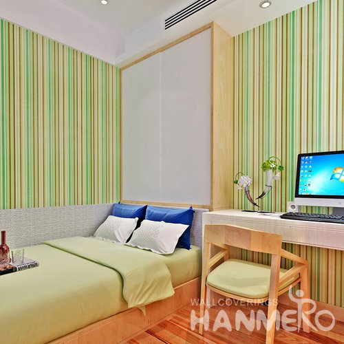 HANMERO Modern Stripes Green Peel and Stick Wall paper Removable Stickers