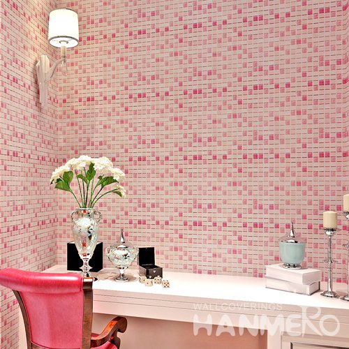 HANMERO Modern Check Pink Peel and Stick Wall paper Removable Stickers