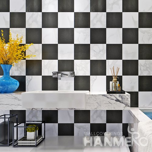 HANMERO Modern Check Black And White Peel and Stick Wall paper Removable Stickers