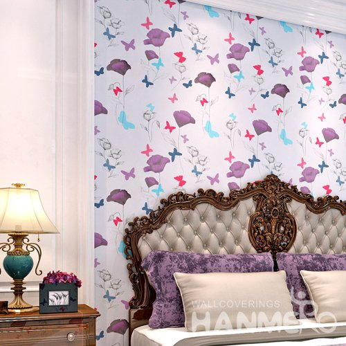 HANMERO Modern Flowers White Peel and Stick Wall paper Removable Stickers