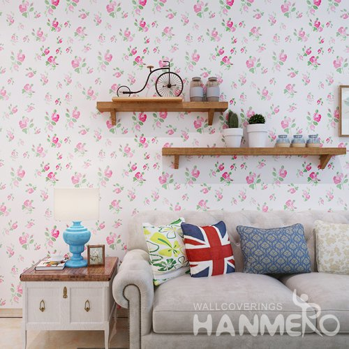 HANMERO Rural Flowers White Peel and Stick Wall paper Removable Stickers