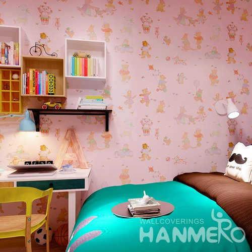 HANMERO Modern Cartoon Pink Peel and Stick Wall paper Removable Stickers
