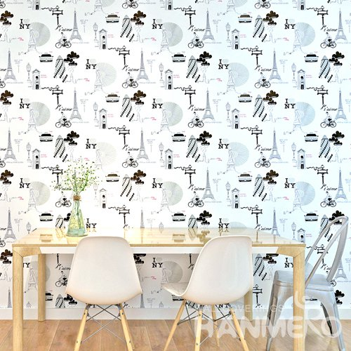 HANMERO Modern White Peel and Stick Wall paper Removable Stickers
