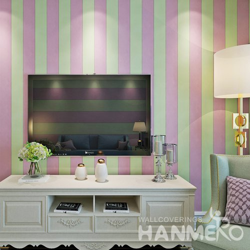 HANMERO Modern Stripe Pink And Green Peel and Stick Wall paper Removable