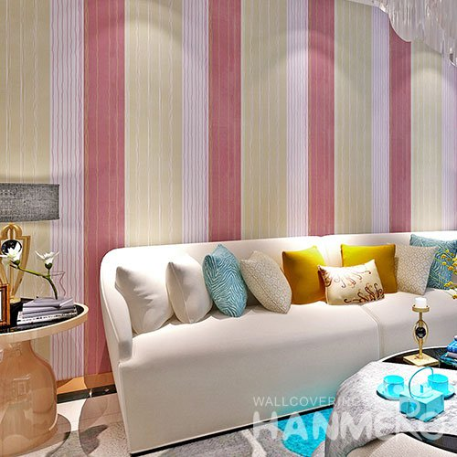 HANMERO Modern Stripe Yellow Pink Peel and Stick Wall paper Removable Stickers