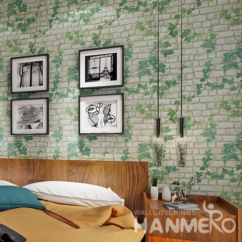 HANMERO Modern Imitation Brick Green White Peel and Stick Wall paper Removable Stickers