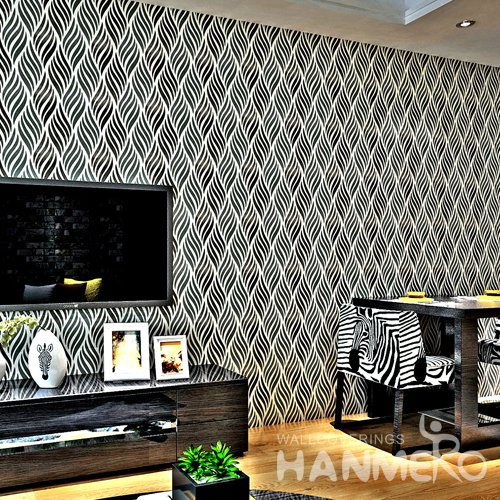 HANMERO Modern Stripe Black Peel and Stick Wall paper Removable Stickers