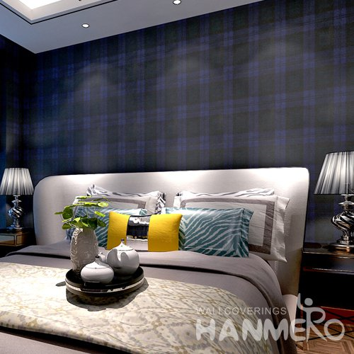 HANMERO Modern Check Deep Blue And White Peel and Stick Wall paper Removable Stickers
