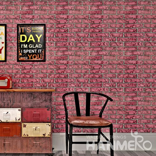 HANMERO Modern Imitation Brick Red Peel and Stick Wall paper Removable Stickers