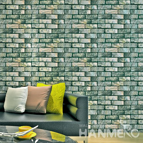 HANMERO Modern Imitation Brick Green Peel and Stick Wall paper Removable Stickers
