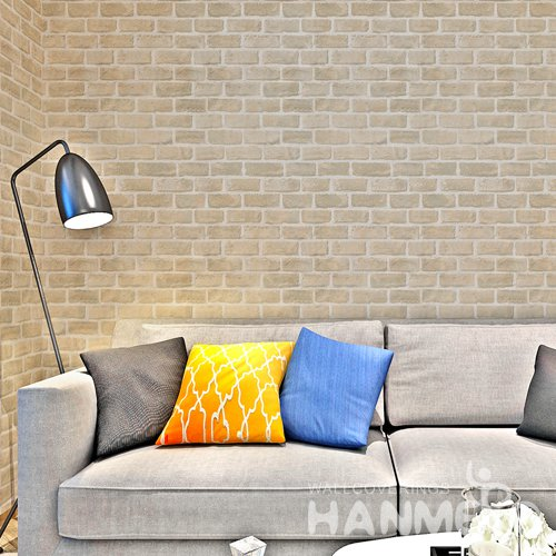 HANMERO Modern Imitation Brick Yellow Peel and Stick Wall paper Removable Stickers