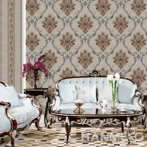 HANMERO European Brown Embossed Vinyl PVC Wallpaper Home Decor