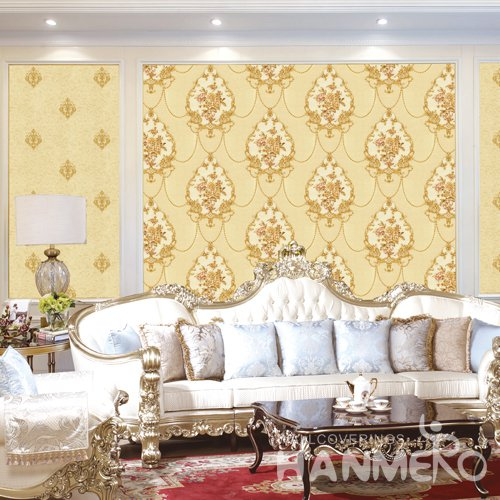 HANMERO Yellow European Embossed Vinyl PVC Wallpaper Home Decor