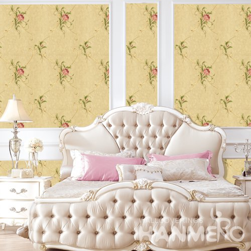 HANMERO Vintage Yellow Embossed Vinyl PVC Wallpaper Home Decor