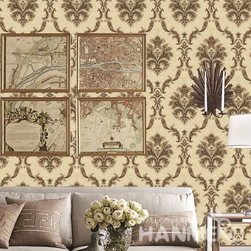 HANMERO European Yellow Embossed Vinyl PVC Wallpaper Home Decor