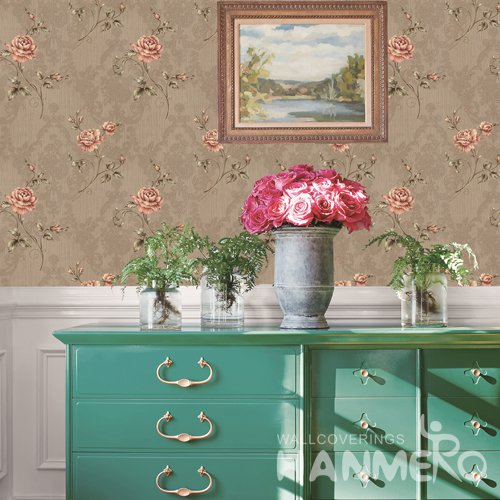 HANMERO Vintage Brown Embossed Vinyl PVC Wallpaper Home Decor