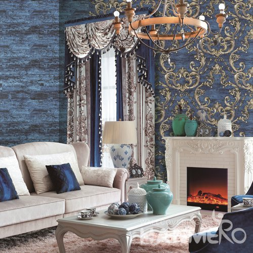 HANMERO European Blue Embossed Vinyl PVC Wallpaper Home Decor