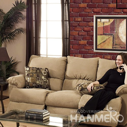HANMERO Modern Brick Red Embossed Vinyl Wall Paper Murals 0.53*10M/roll Home Decor