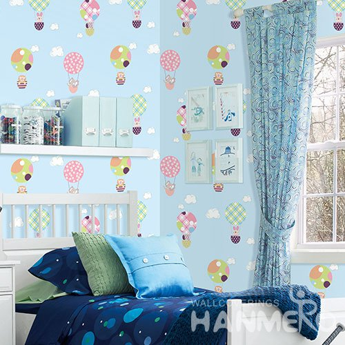 HANMERO Cartoon Blue Embossed Vinyl Wall Paper Murals 0.53*10M/roll Home Decor