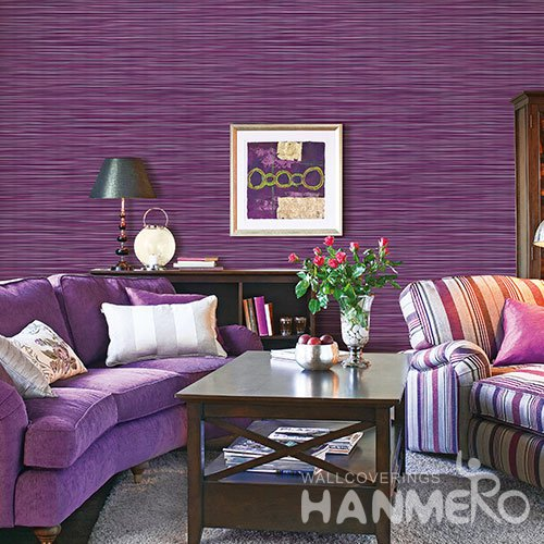 HANMERO Modern Purple Embossed Vinyl Wall Paper Murals 0.53*10M/roll Home Decor