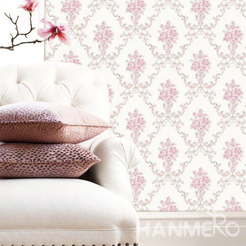 HANMERO Modern Pink And White Embossed Vinyl Wall Paper Murals 0.53*10M/roll Home Decor